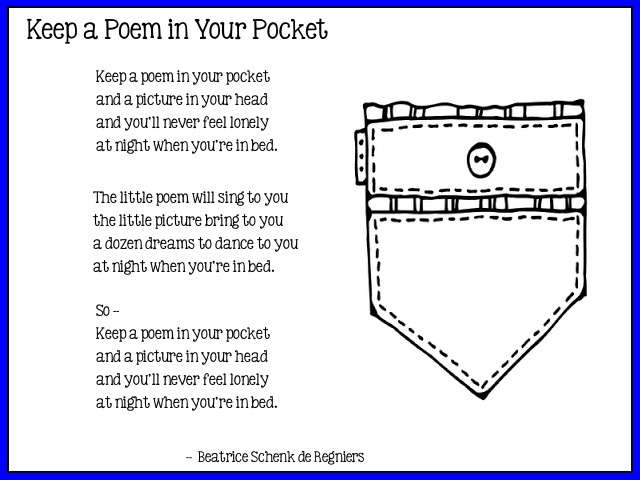 image about Keep a Poem in Your Pocket Printable called Poem Inside of Your Pocket Working day