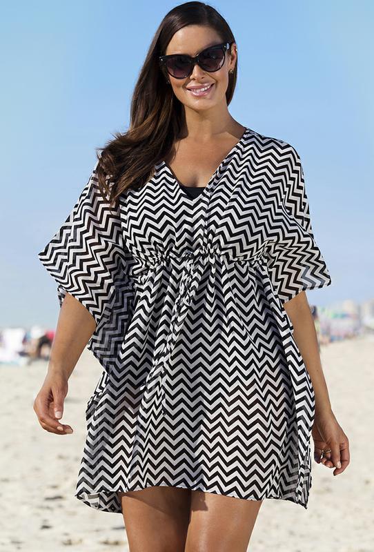 Plus Size Beach Tunics Kimono Dress Cover Up